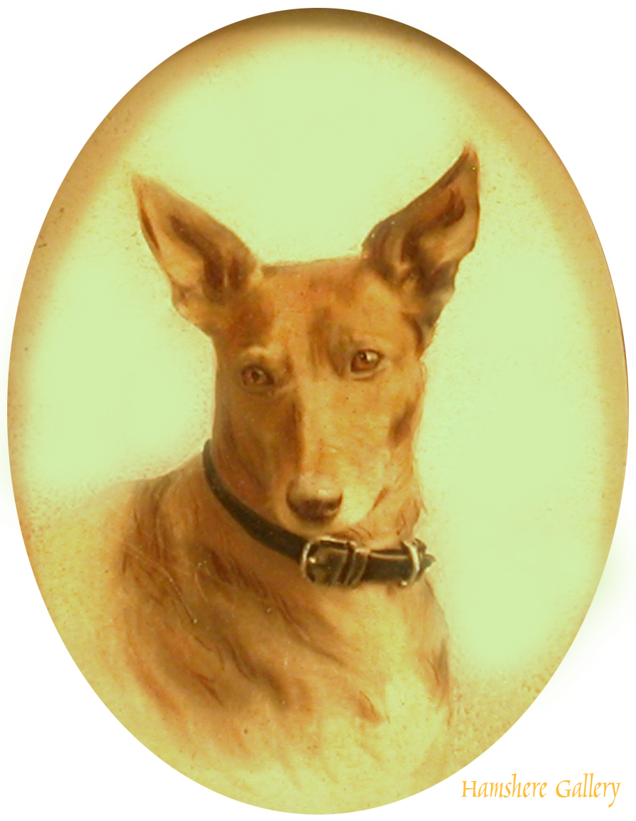 Click to see full size: Miniature Watercolour on board of Pinscher
