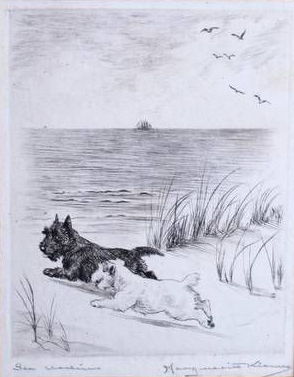 Click to see full size: Scottish Terrier and Sealyham dry-point etching �Sea Urchins� by Marguerite Kirmse