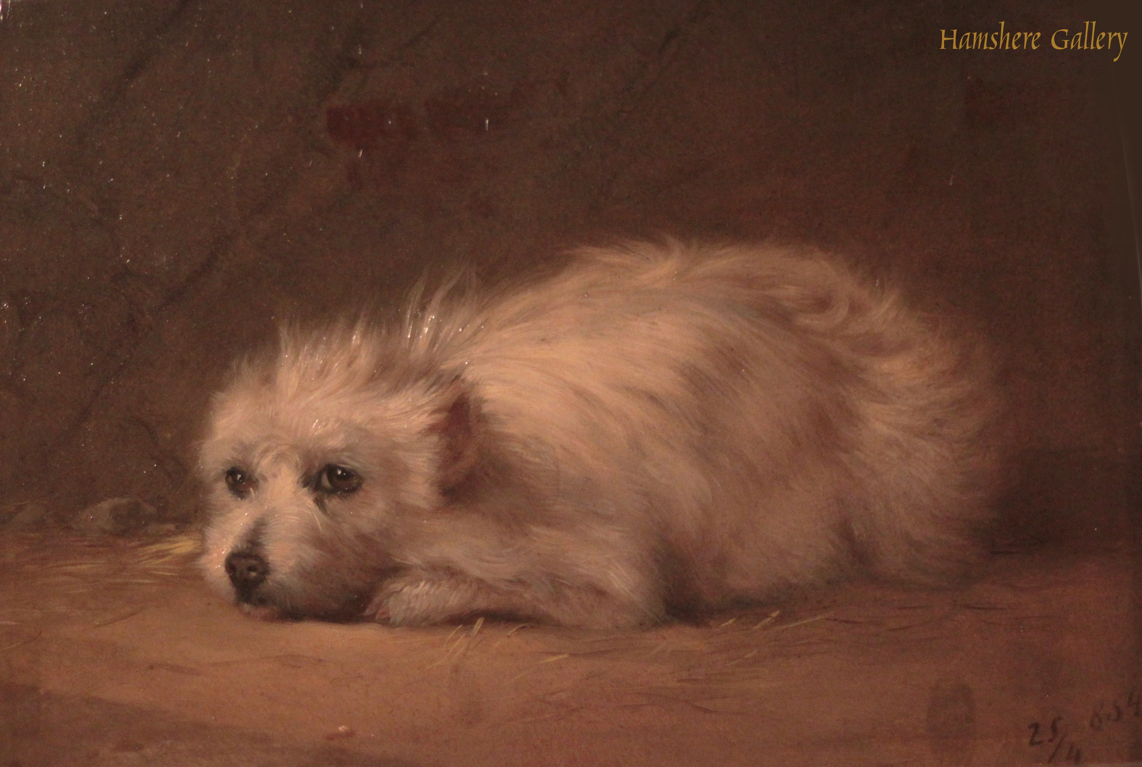 Click to see full size: An oil of a white terrier by Jules Gustave le Roy