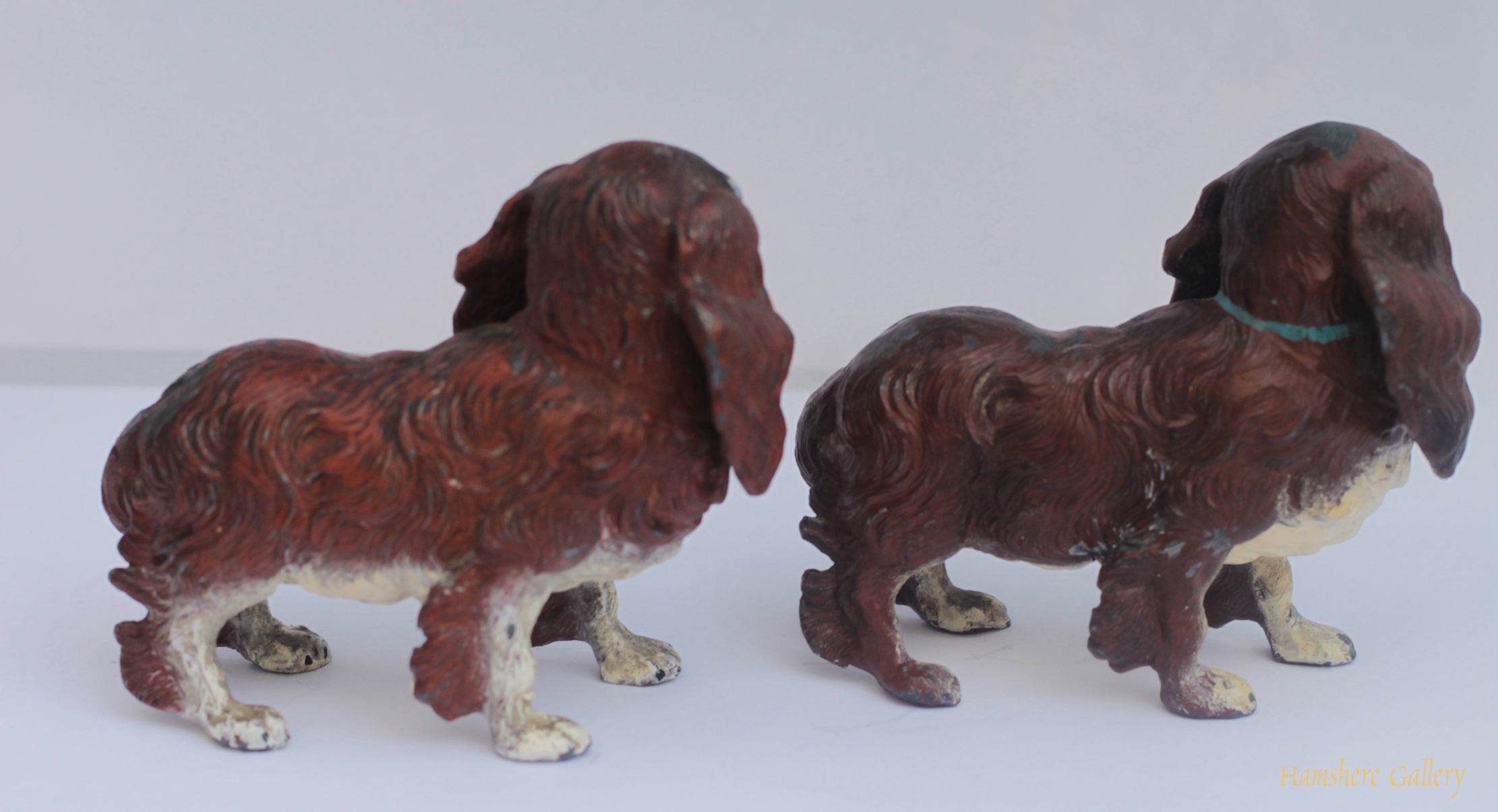 Click to see full size: pair King Charles Cavalier Spaniel cold painted models- pair King Charles Cavalier Spaniel cold painted models