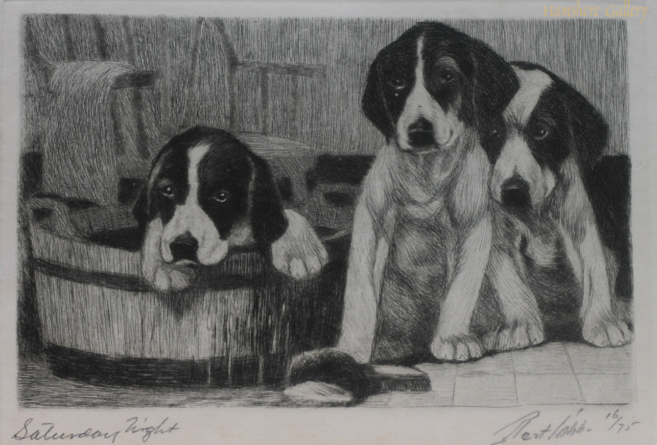 Click to see full size: Limited edition dry-point etching of Foxhound puppies by Bert Cobb (American, 1869- 1935)