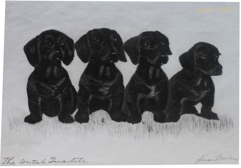 Click to see full size: Limited edition dry-point etching of Dachshund puppies by Lisa Balsie