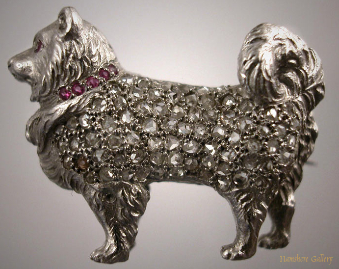 Click to see full size: Diamond and Platinum Spitz/Samoyed Brooch