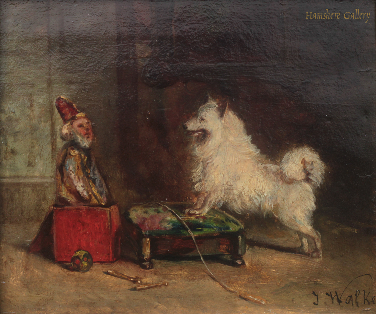Click to see full size: Oil of a Spitz amused by a jack-in-the-box by James Alexander Walker