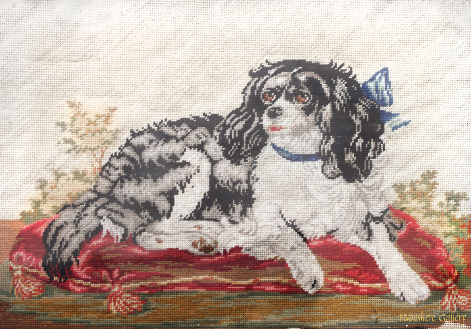 Click to see full size: Mid to late 19th century 'Berlin' needlework / needlepoint / tapestry of a tricolour King Charles Cavalier Spaniel