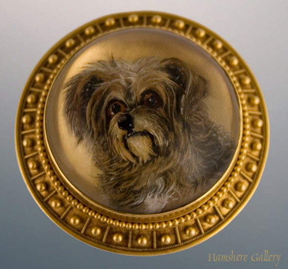 Click to see full size: Drop Ear Skye Terrier reverse intaglio crystal brooch