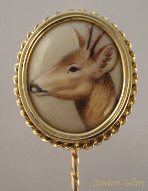 Click to see full size: Muntjac deer gold mounted enamel stick pin