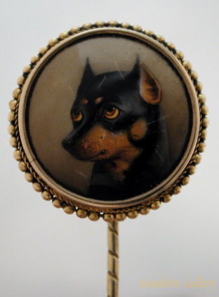 Click to see full size: Enamel of a Manchester terrier stick by William Bishop Ford
