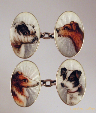 Click to see full size: Enamel on silver dog cufflinks- Enamel on silver dog cufflinks