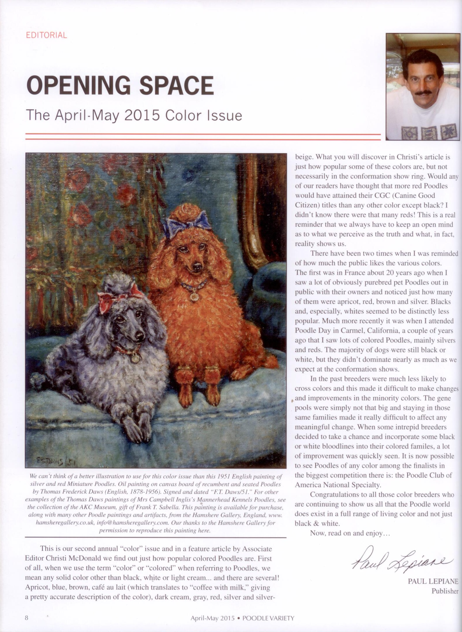 Click to see full size: �Poodle Variety April -May 2015 . Color Issue� feature the Mannerhead Poodles by F T Daws