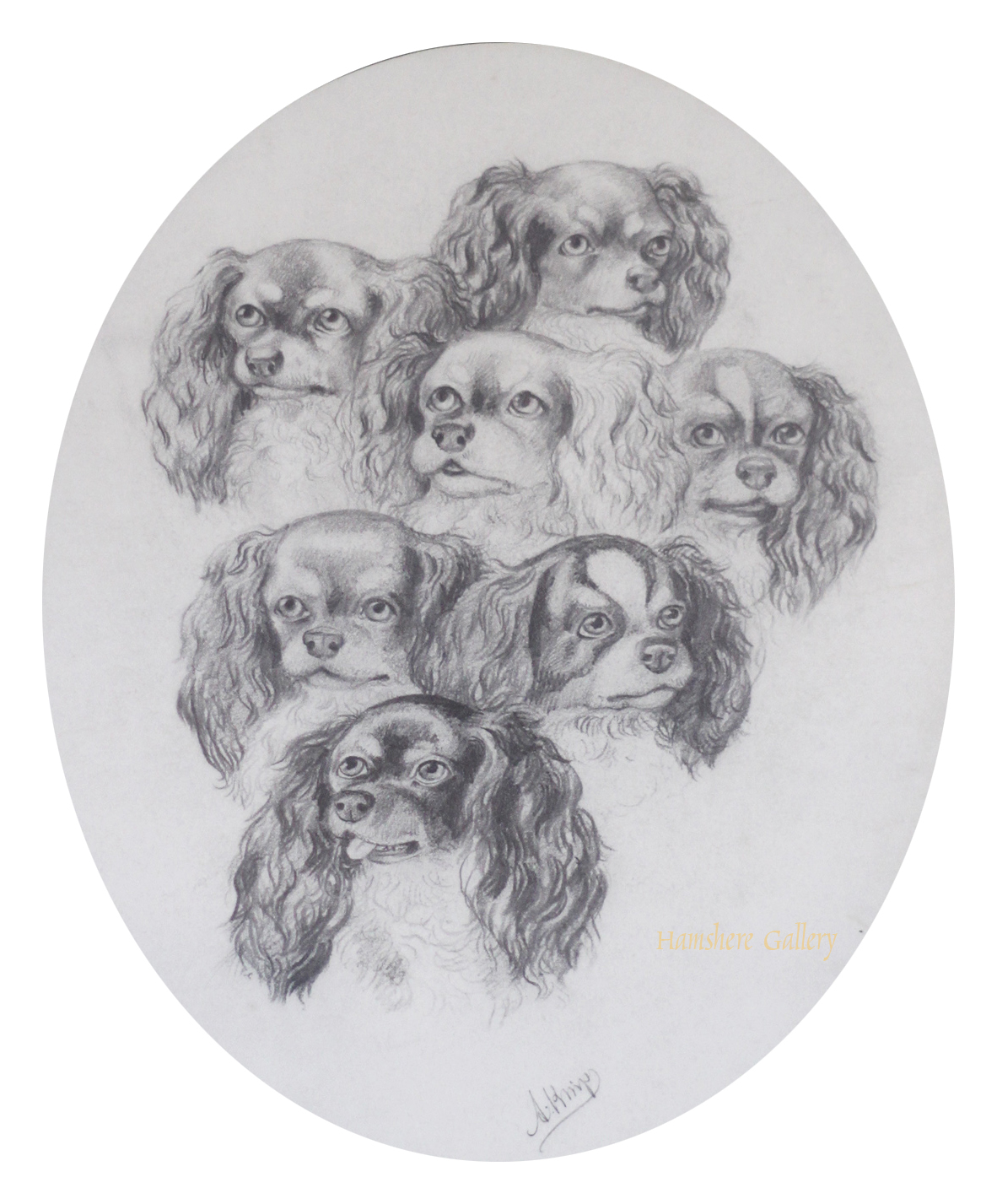 Click to see full size: seven King Charles Spaniels by August Knip