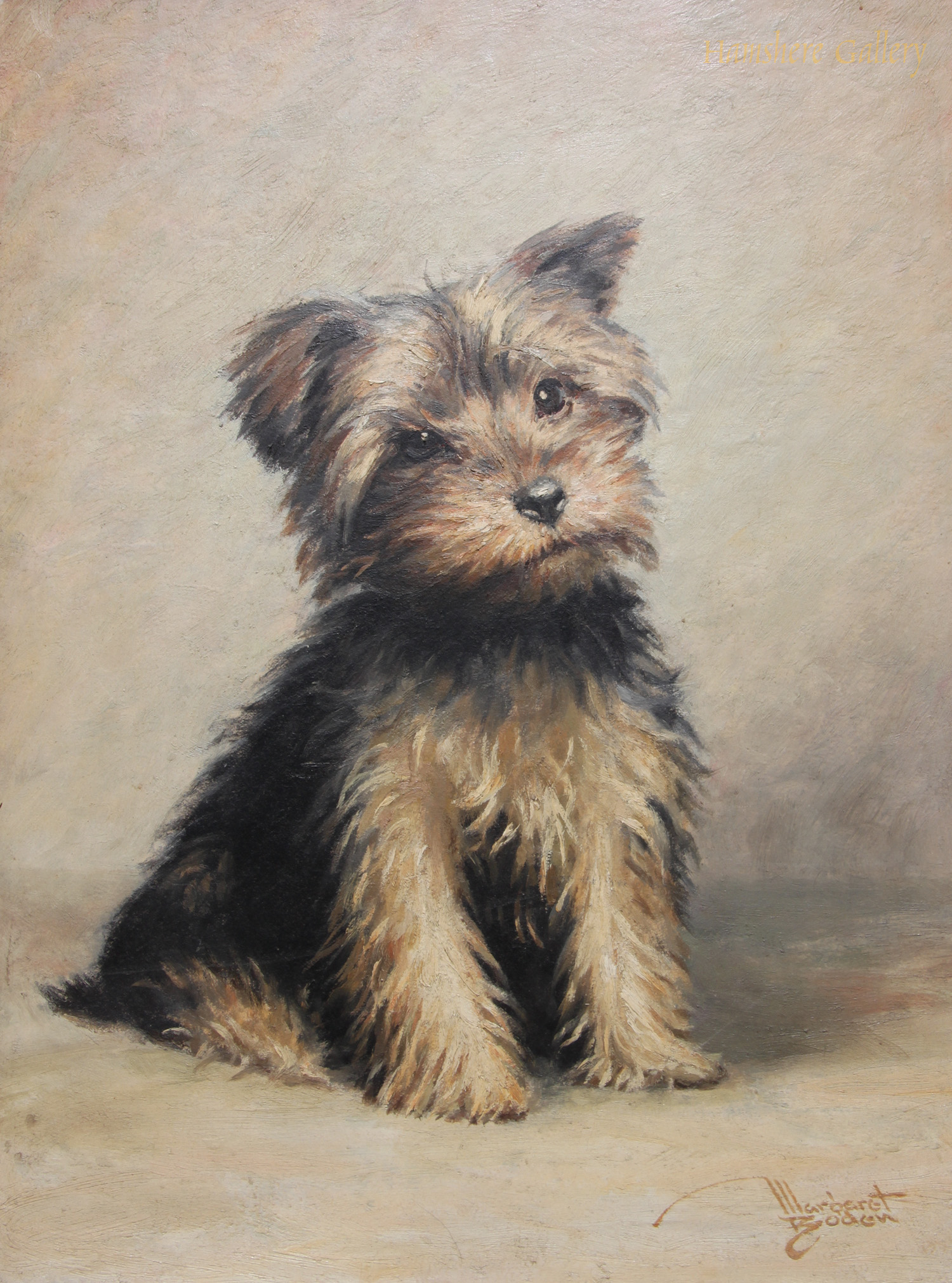 Click to see full size: Oil of a Yorkshire Terrier puppy by Margaret Boden