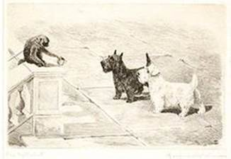 Click to see full size: Scottish Terrier and Sealyham Terrier dry-point etching �The Age of Innocence� by Marguerite Kirmse