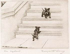Click to see full size: Scottish Terrier dry-point etching �The Upstart� by Marguerite Kirmse (English, 1885 -1954)