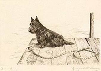 Click to see full size: Scottish Terrier dry-point etching �Gaen Awa� by Marguerite Kirmse (English, 1885 -1954)