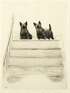 Click to see full size: Scottish Terrier dry-point etching �Glad to See You� by Marguerite Kirmse (English, 1885 -1954)