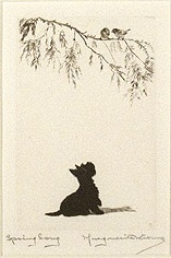 Click to see full size: Scottish Terrier dry-point etching �Spring Song� by Marguerite Kirmse (English, 1885 -1954)