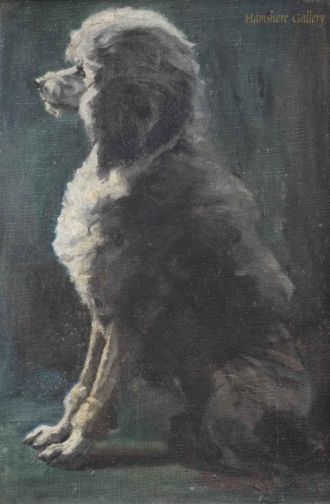 Click to see full size: Oil on canvas board of Poodle by Persis Kirmse