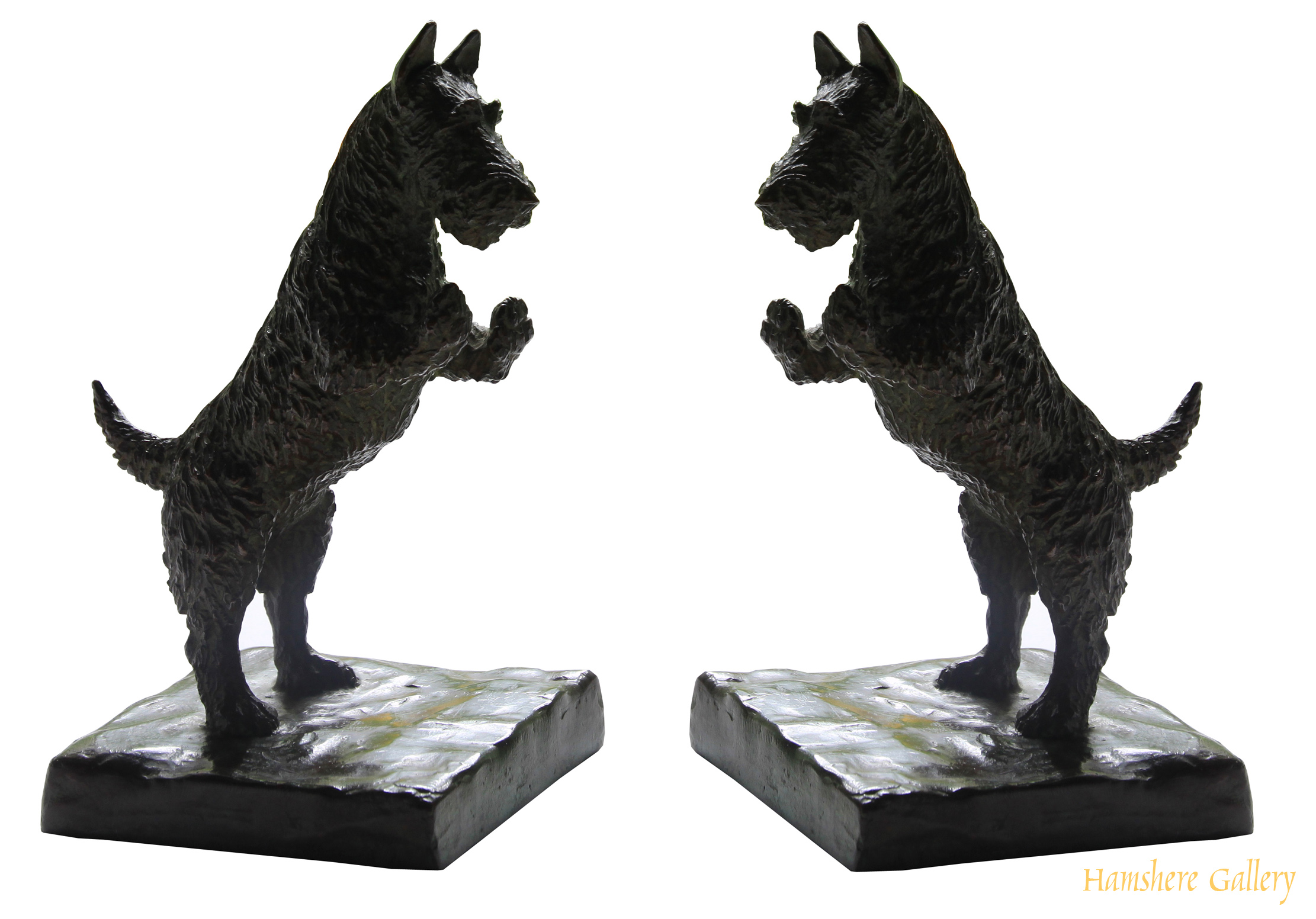 Click to see full size: Pair of Gorham standing Scottish Terrier bronzes after Marguerite Kirmse