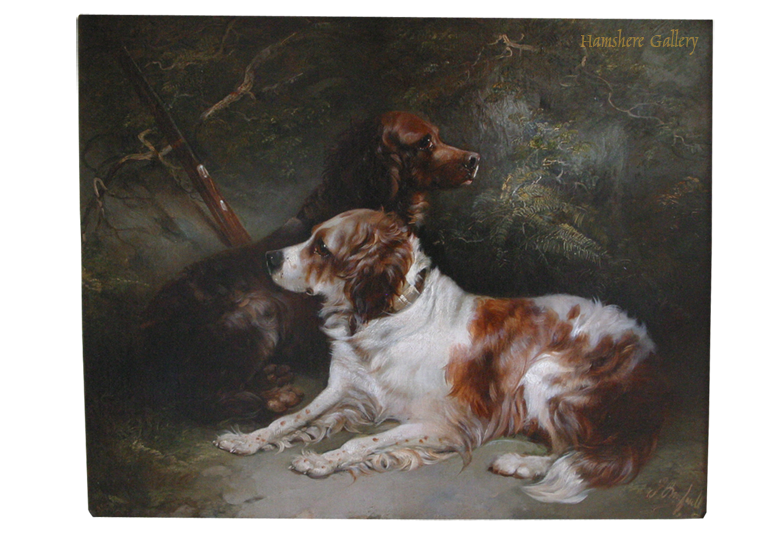 Click to see full size: An oil of a pair of Setters by George Armfield Smith