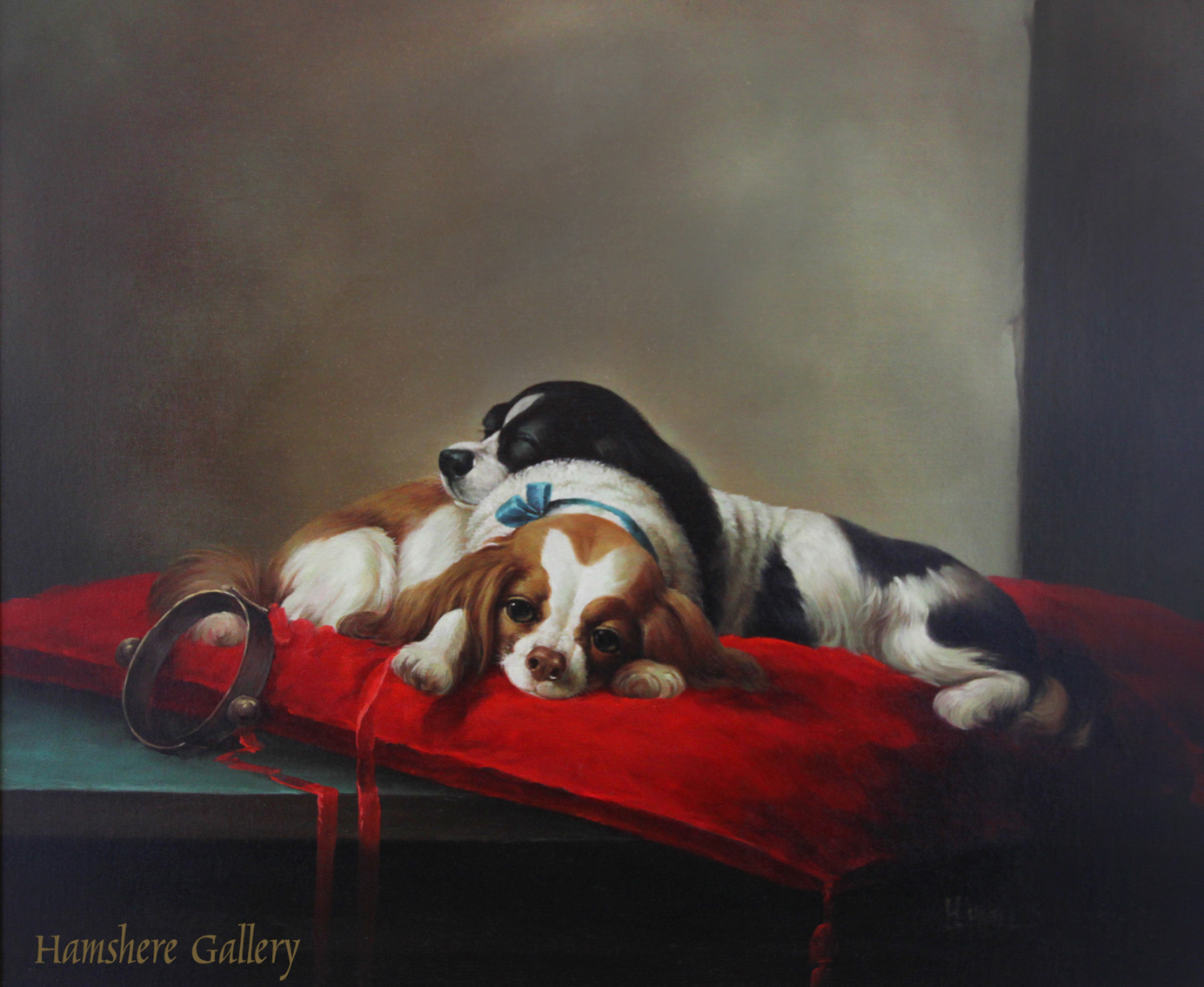 Click to see full size: Oil on board of two King Charles Cavalier Spaniels resting on a red cushion by H Hagel. �Signed �H Hagel�