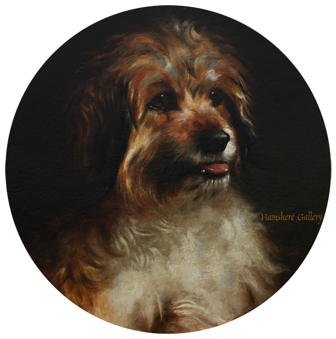 Click to see full size: An oil of a  Dandie Dinmont attributable to George Earl
