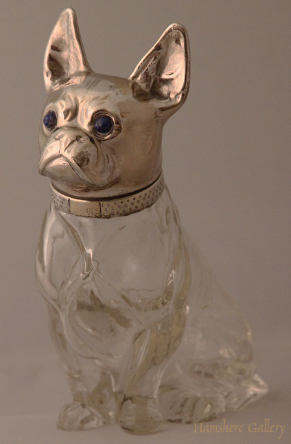Click to see full size: Rock Crystal French Bulldog Decanter