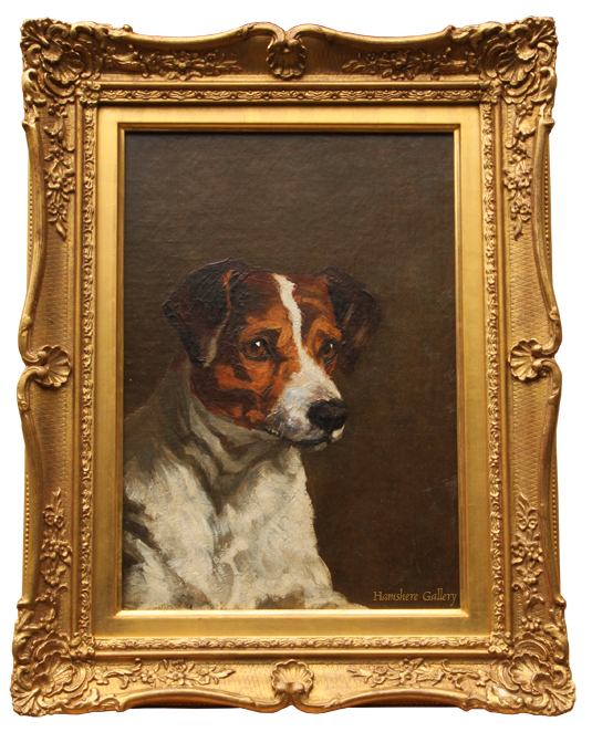 Click to see full size: Oil on canvas of a Smooth-haired Fox Terrier / Jack Russell- Oil on canvas of a Smooth-haired Fox Terrier / Jack Russell