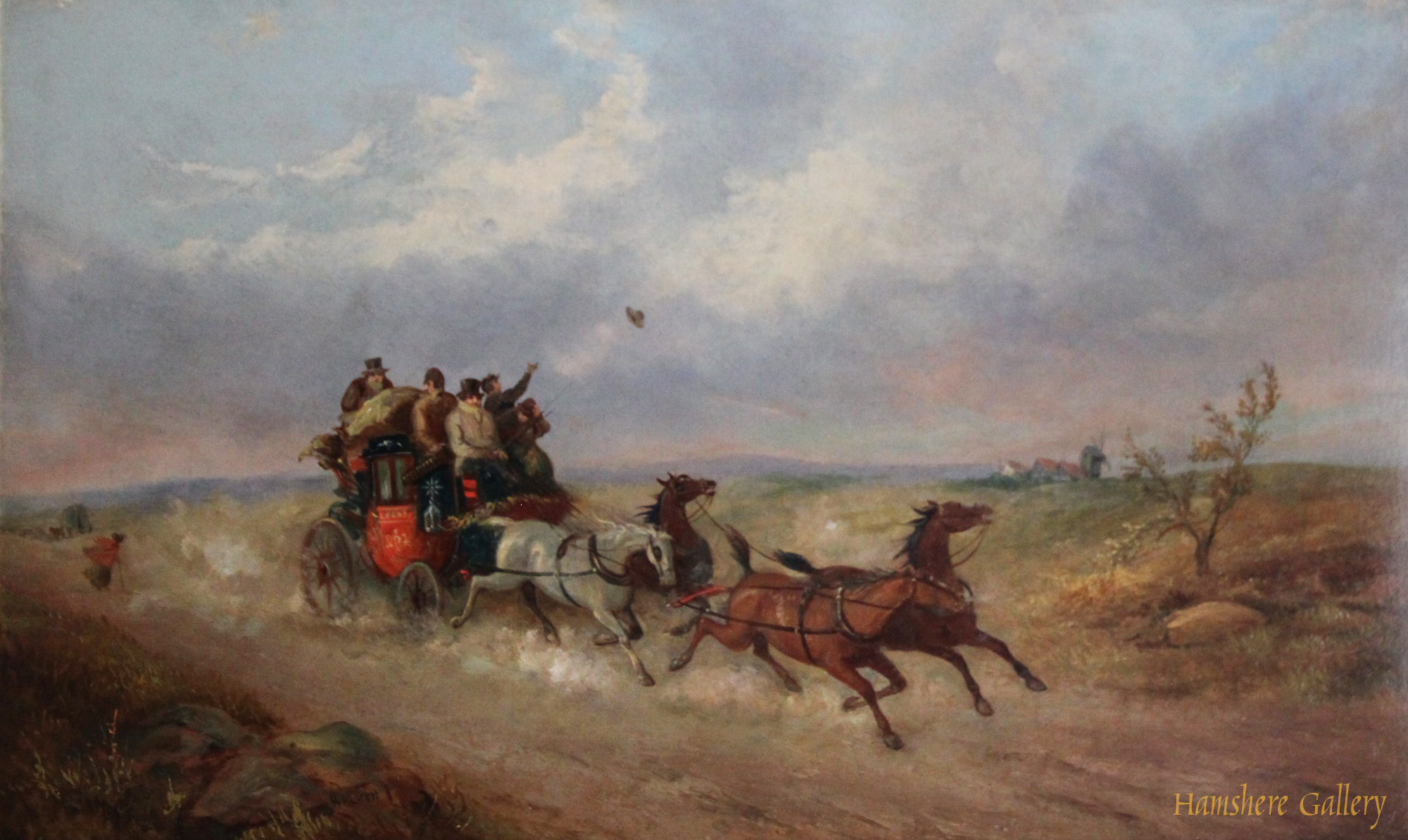Click to see full size: oil of a Royal Mail Coach travelling across open heath by William Joseph