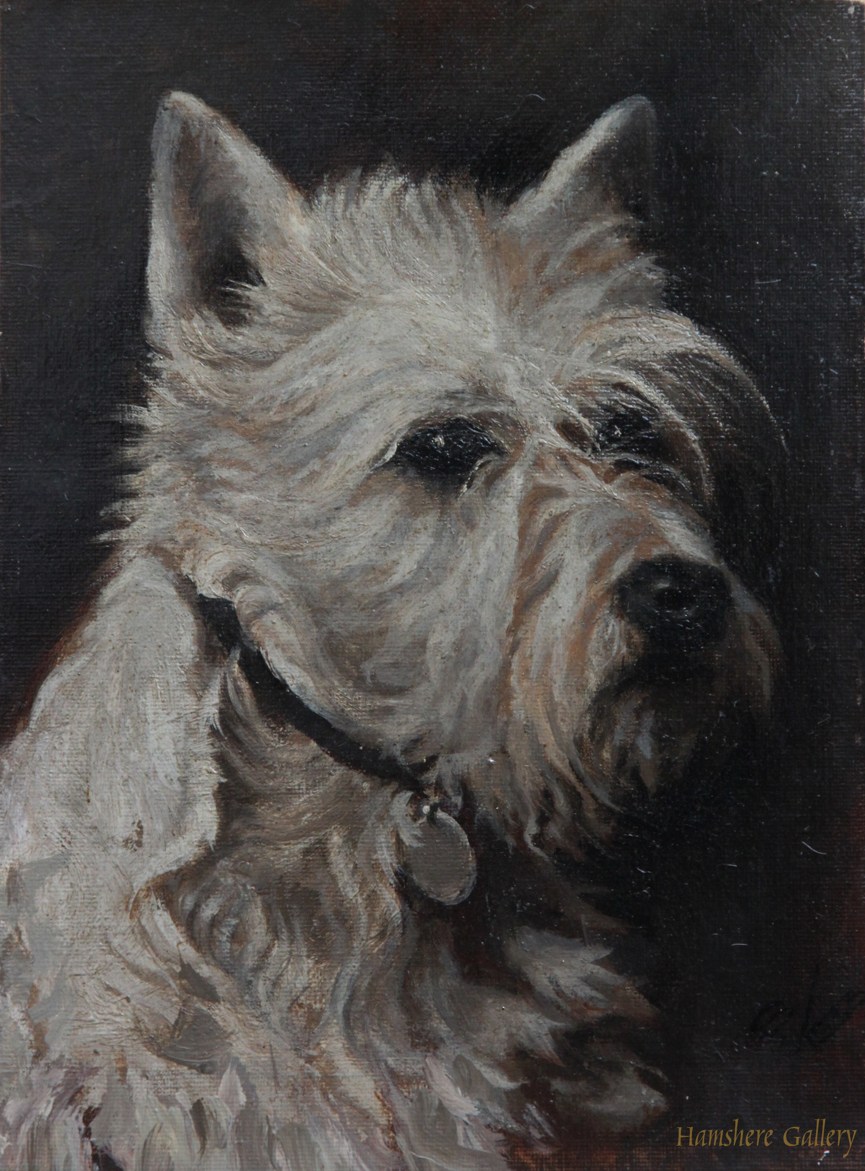 Click to see full size: 1930s�s oil of a West Highland Terrier