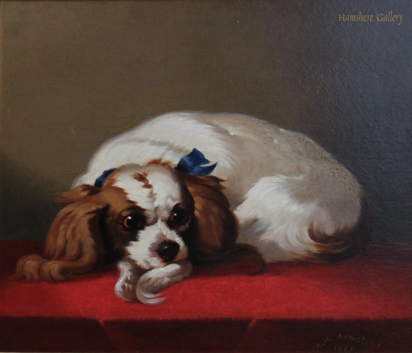 Click to see full size: oil of a Blenheim King Charles Spaniel Signed by Henry Hugh Armstead RA - oil of a Blenheim King Charles Spaniel Signed by Henry Hugh Armstead RA