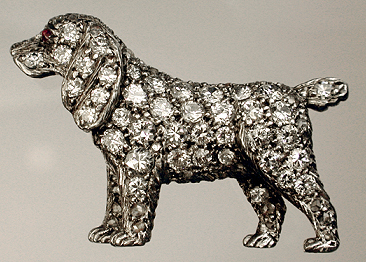 Click to see full size:  Diamond Cocker Spaniel brooch SOLD