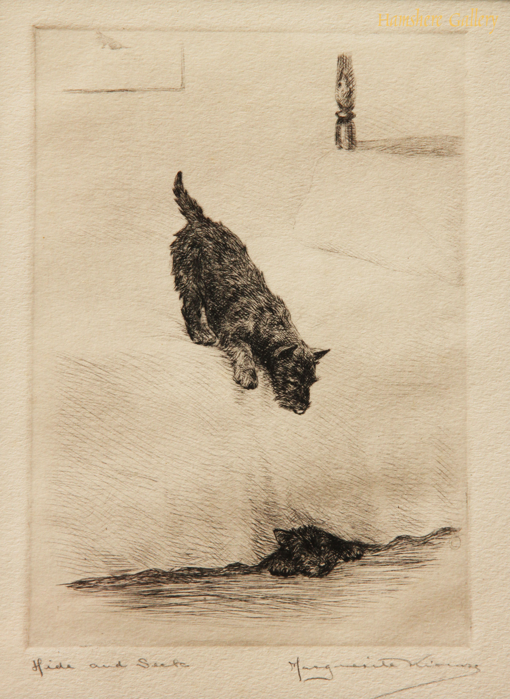 Click to see full size: Scottish Terrier dry-point etching �Hide and Seek� by Marguerite Kirmse