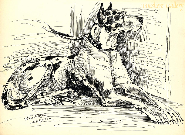 Click to see full size: Pen and ink Harlequin Great Dane by Marie-Paulette Lagosse