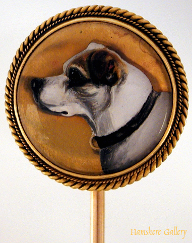 Click to see full size: Reverse intaglio crystal stick pin of Terrier