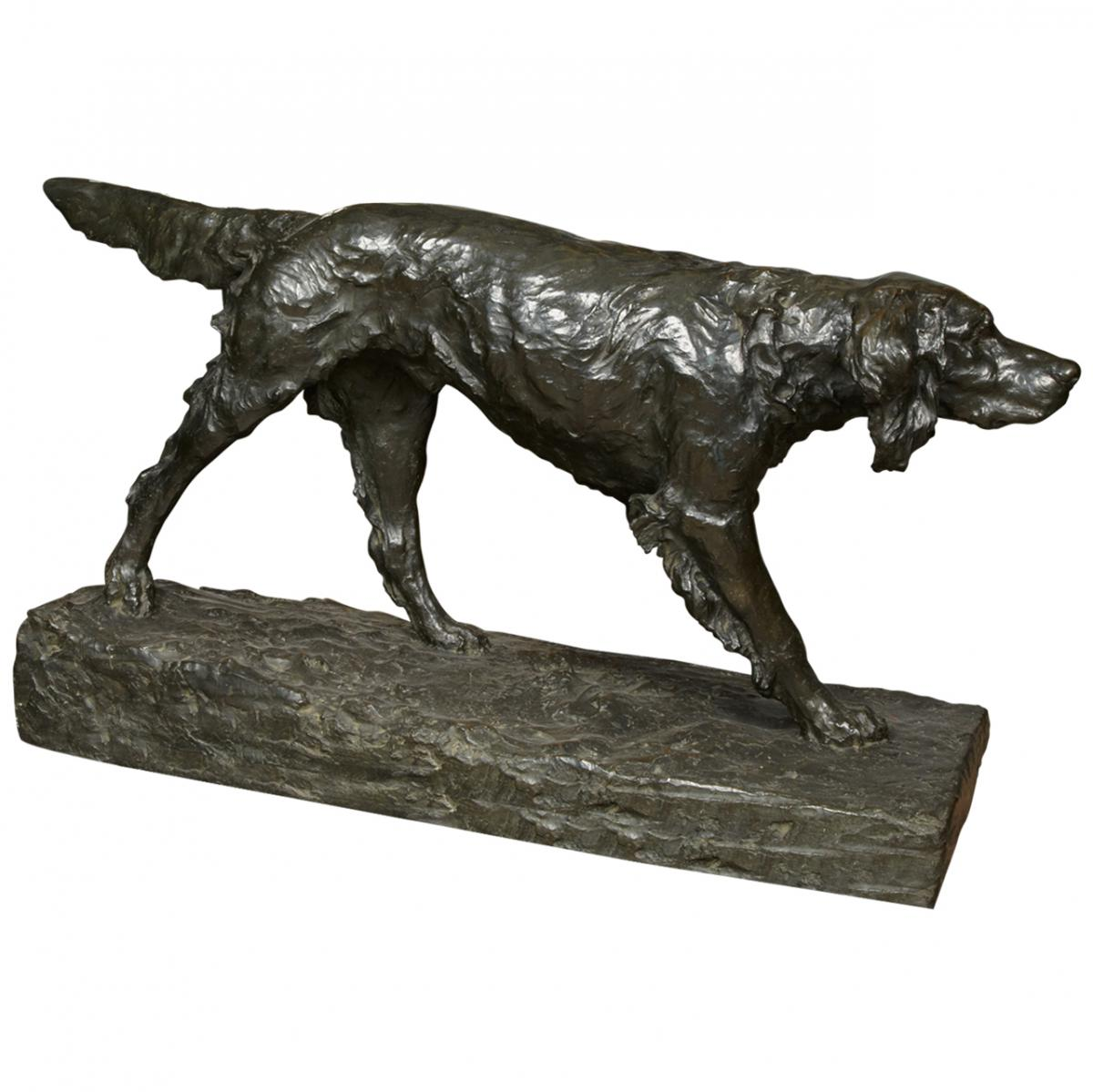 Click to see full size: A Setter bronze by Cesare Biscarra