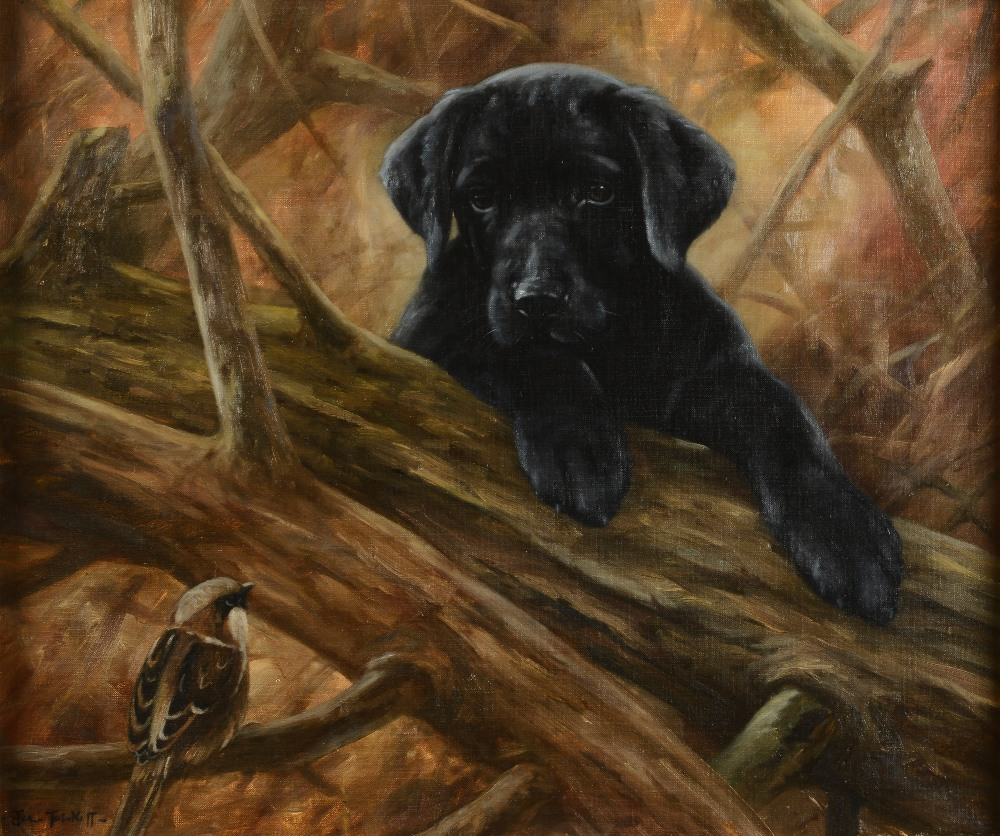 Click to see full size: Oil of a Labrador puppy and sparrow by John Trickett (b1952)