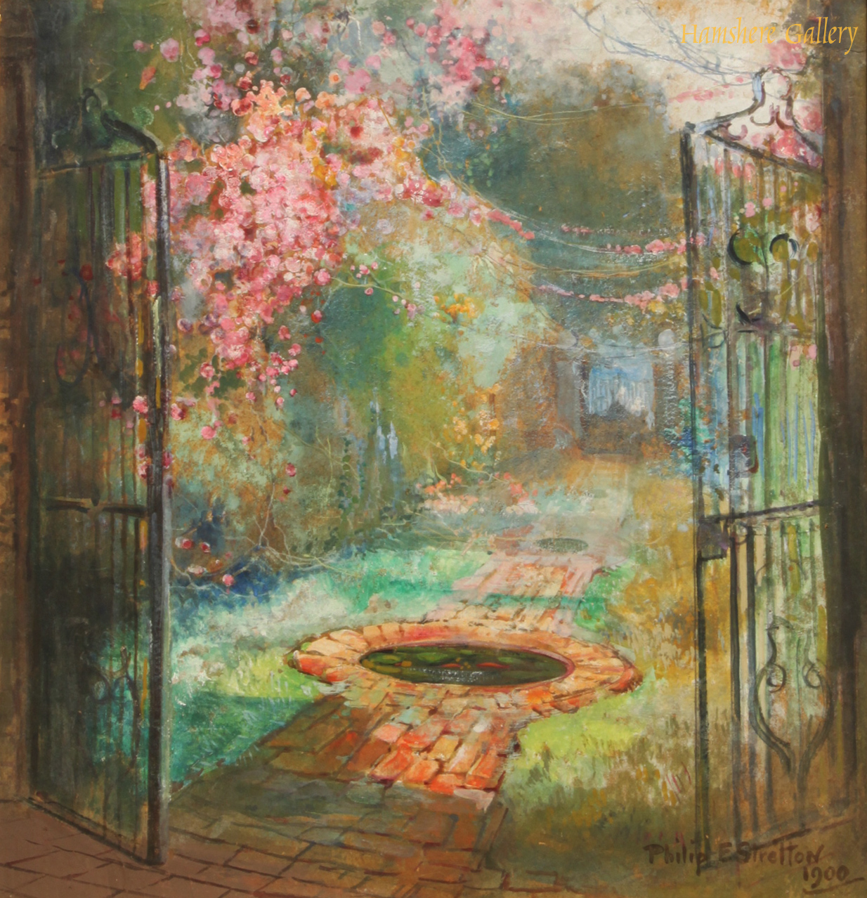 Click to see full size: An oil of walled garden and pool scene by Philip Eustace Stretton