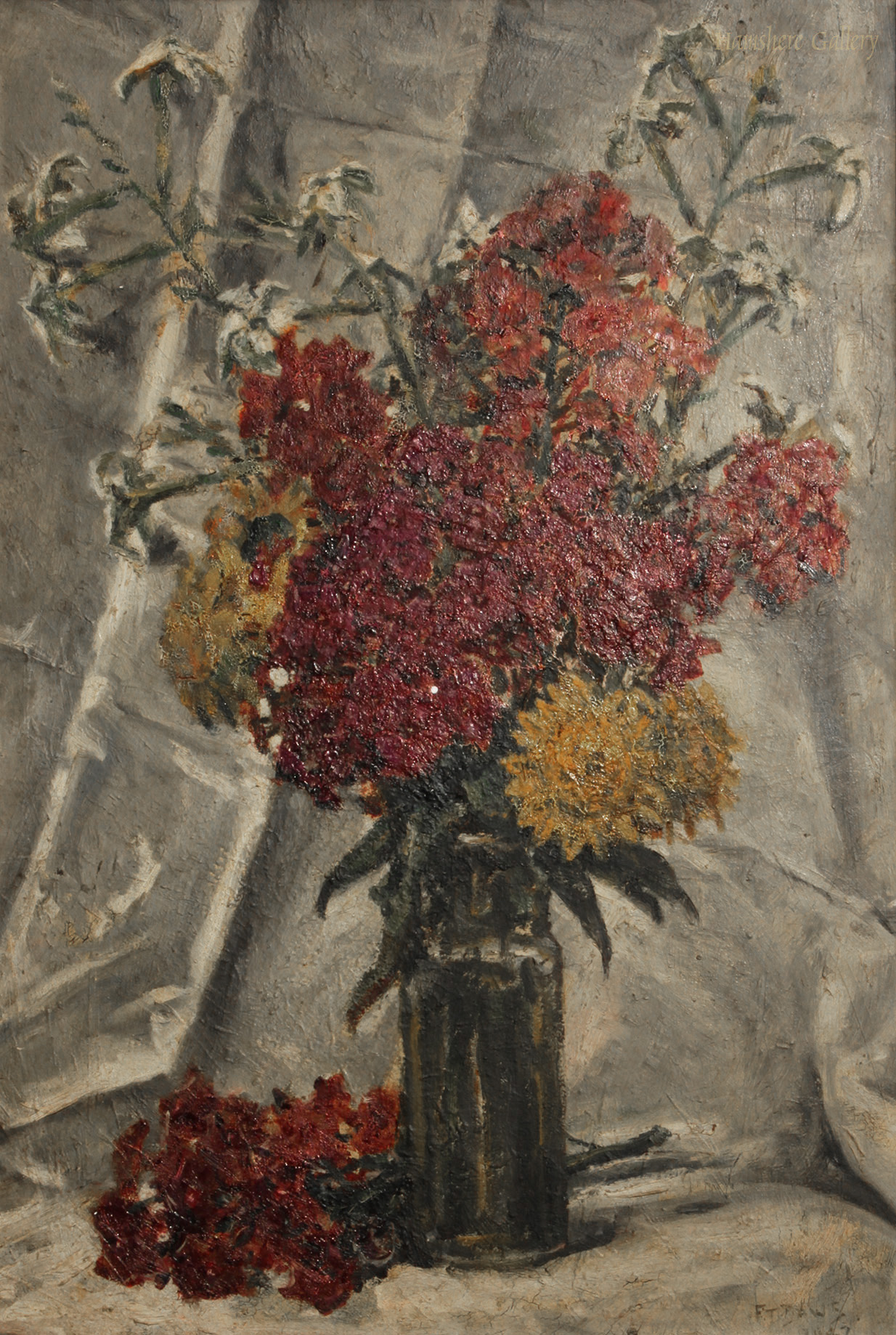 Click to see full size: A still life in oil of �Zinnias & Dahlias� by William Arthur Chase ARWA (English, 1878-1844)