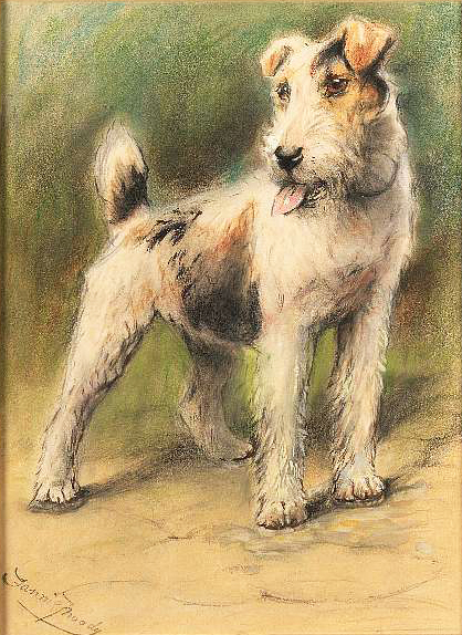 Click to see full size: Wire Haired Fox Terrier Painting by Miss Fannie Moody SWA
