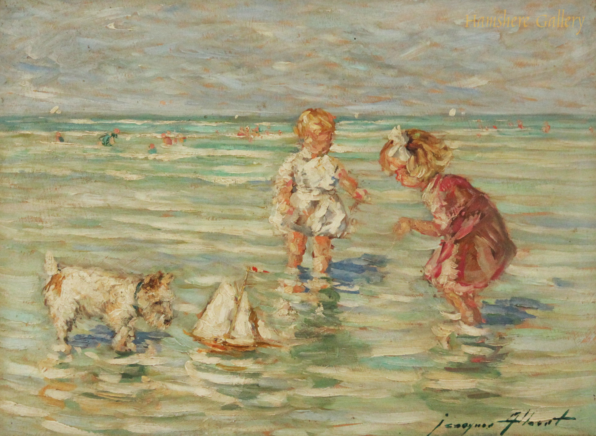 Click to see full size: Oil of Wire-haired Fox Terrier in seaside scene by Jacques Albert