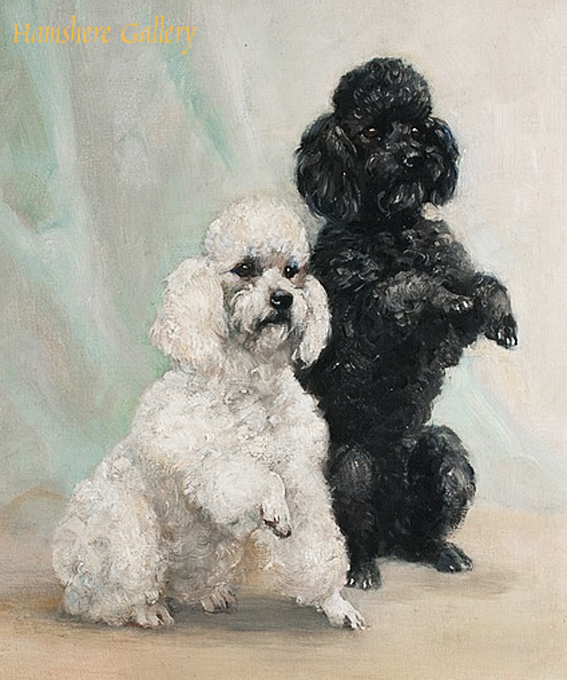 Click to see full size: An oil of a pair of Poodles by Mabel Gear