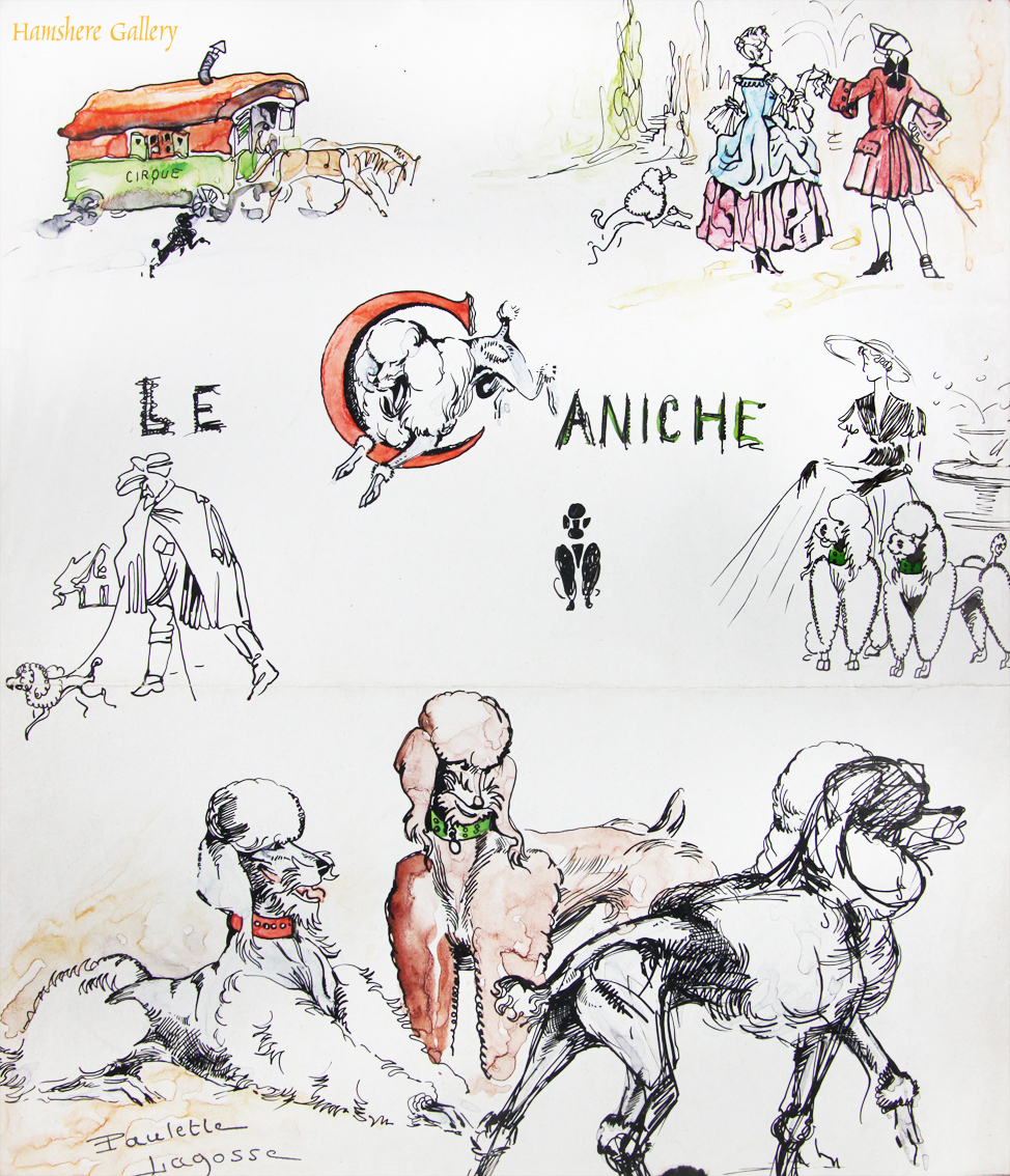 Click to see full size: Pen and ink with watercolour Poodle drawings by Marie-Paulette Lagosse