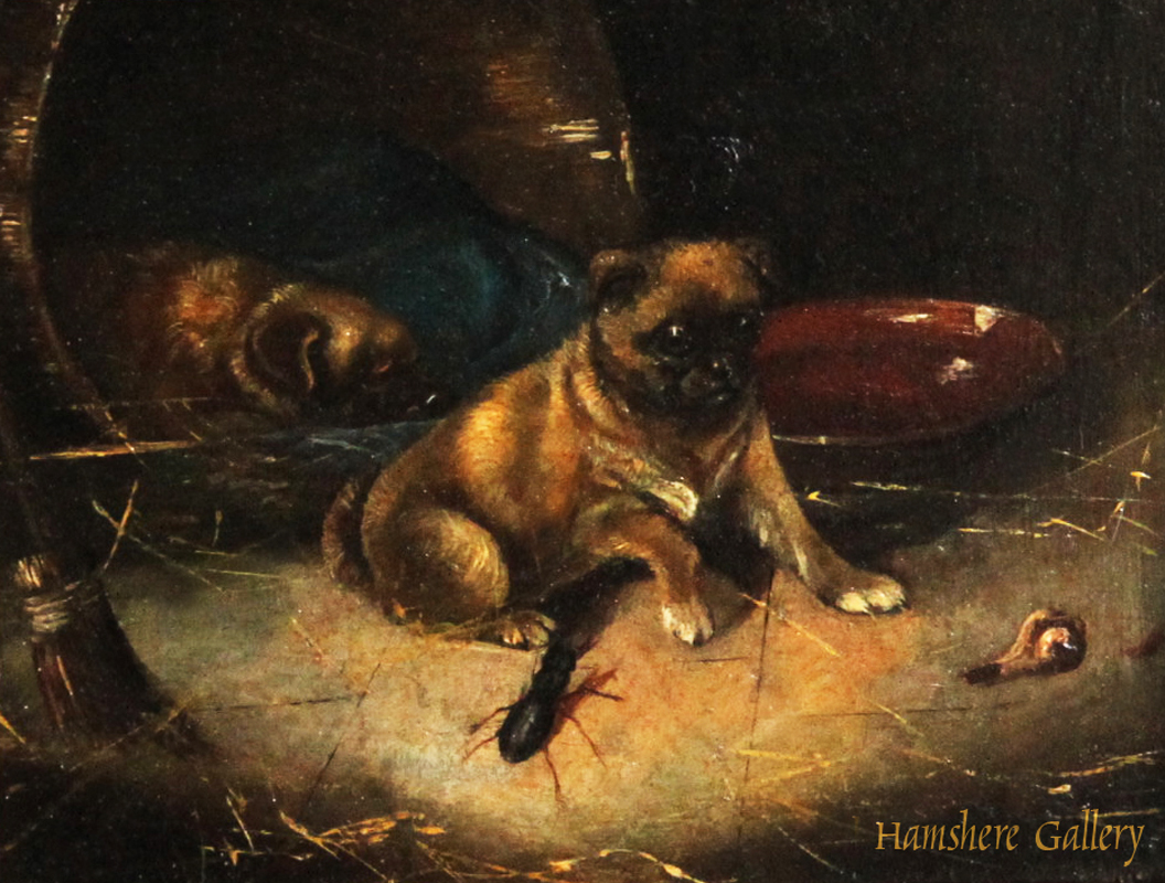 Click to see full size: A miniature oil on panel of Pugs by Horatio Henry Couldery