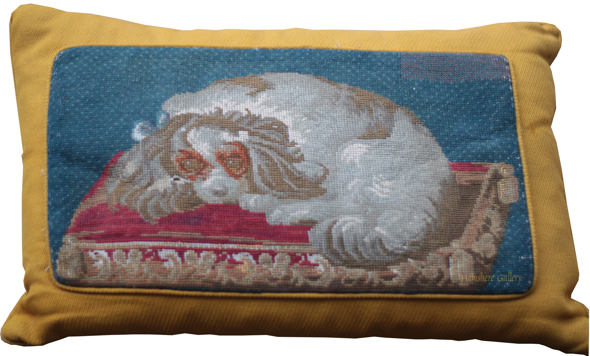 Click to see full size: 19th King Charles Cavalier Spaniel and puppy needlepoint / needlework / textile   - 19th King Charles Cavalier Spaniel and puppy needlepoint / needlework / textile