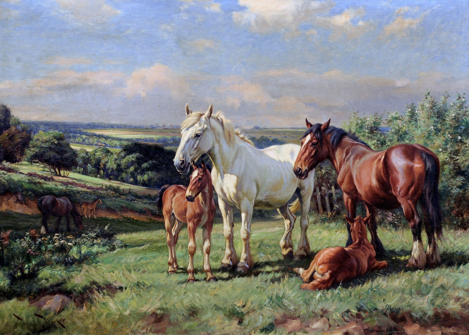 Click to see full size: Oil on canvas of horses, mares and foals by Wright Barker