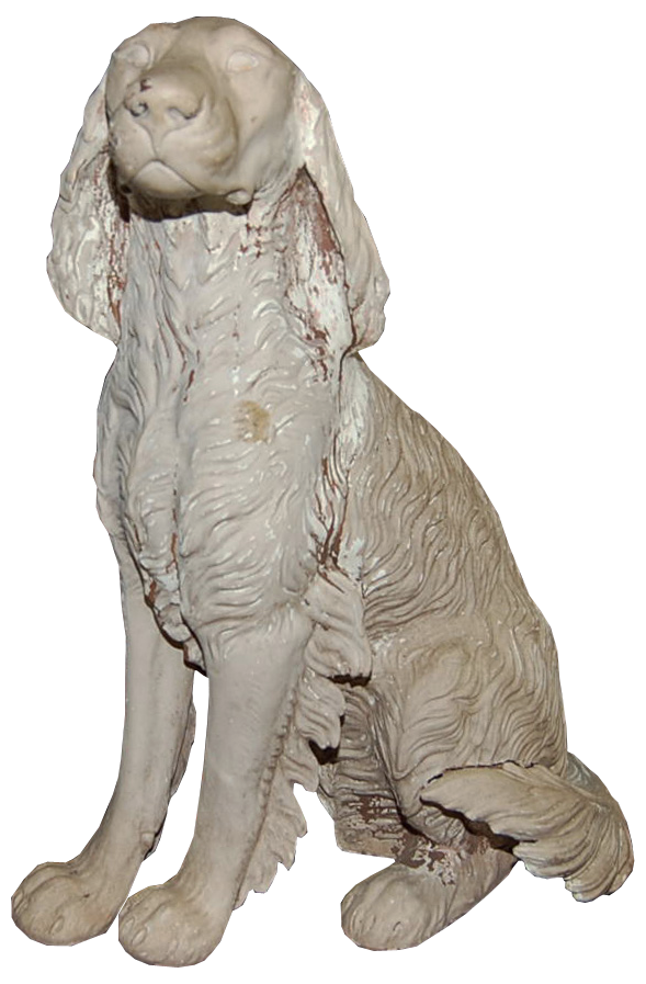 Click to see full size: Early 20th Century plaster Setter sculpture / statue