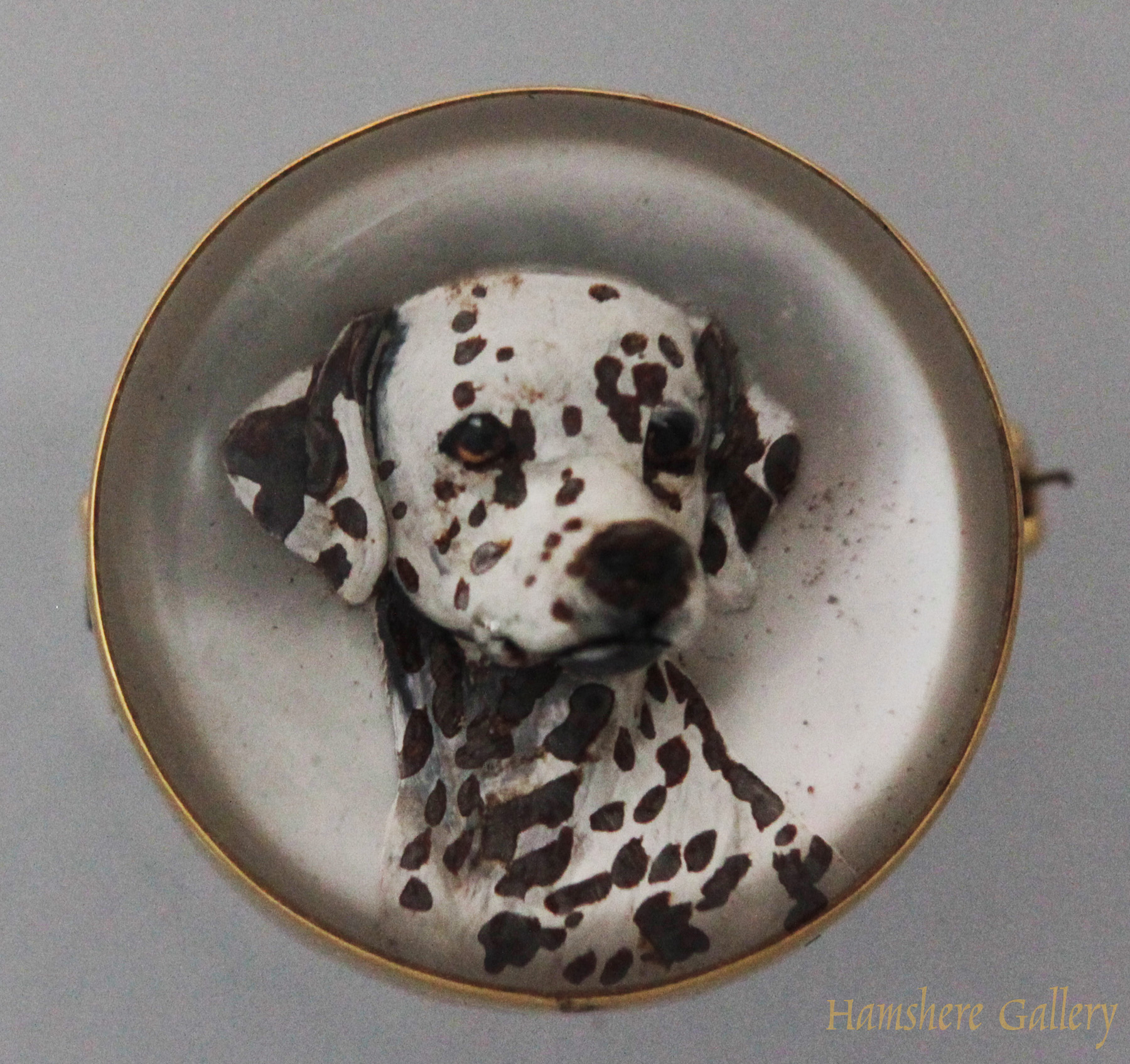 Click to see full size: A reverse intaglio crystal brooch of a Dalmatian