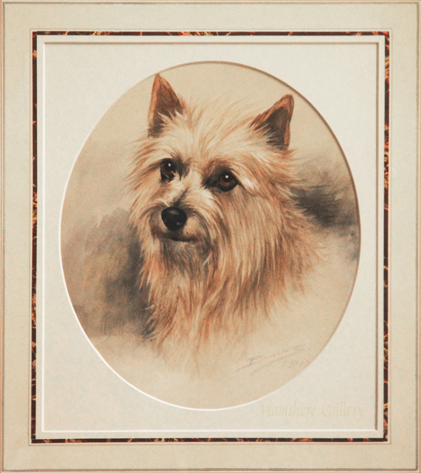 Click to see full size:  A watercolour of a Cairn Terrier by Reuben Ward Binks (English, 1880 - 1950)