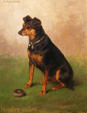Click to see full size: A seated Manchester Terrier titled �Monkeyano� by Frances C Fairman (English, 1836-1923). Signed and dated bottom right